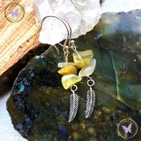 Yellow Opal Silver Feather Earrings